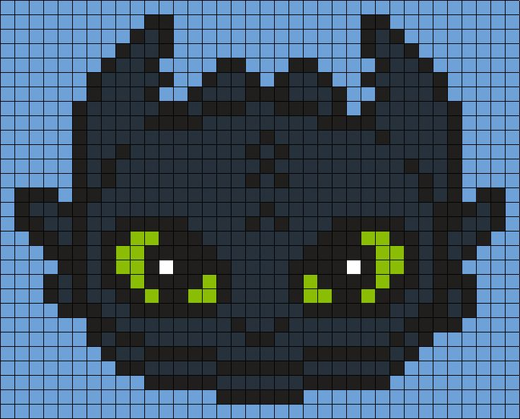 Toothless  From How To Train Your Dragon (Square) Perler Bead Pattern / Bead Sprite