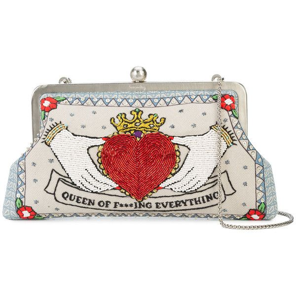 Sarah's Bag embroidered clutch found on Polyvore featuring bags, handbags, clutches, embroidery purse, white clutches, embroidery handbags, white purse and white handbag