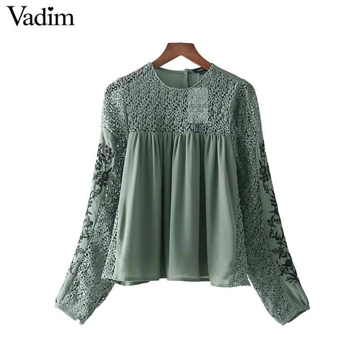 Vadim floral embroidery lace patchwork chiffon shirts pleated see through long sleeve blouse retro casual chic tops LT2407  #lovefashion #fashionlove #like4like #instagram #fashion #summer #amazing #instalike #friends #like