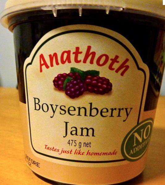 Boysenberry Jam:  YUMMMMM!  Sweet jam made from a boysenberry (berry derived from blackberry, raspberry, loganberry)