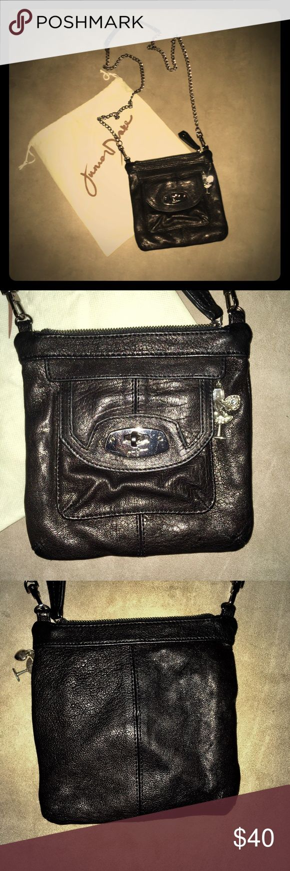 Like new! Junior Drake Leather Chain Strap Bag Like new! Junior Drake black leather crossbody/shoulder silver chain strap small sized bag w/ satin liner in an excellent (barely) used condition. Dustbag included. Junior Drake Bags Mini Bags