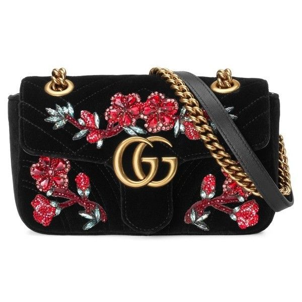 Women's Gucci Mini Gg Marmont Matelasse Velvet Shoulder Bag ($2,590) ❤ liked on Polyvore featuring bags, handbags, shoulder bags, purses, over the shoulder purse, flower handbags, shoulder handbags, quilted chain strap shoulder bag and quilted handbags