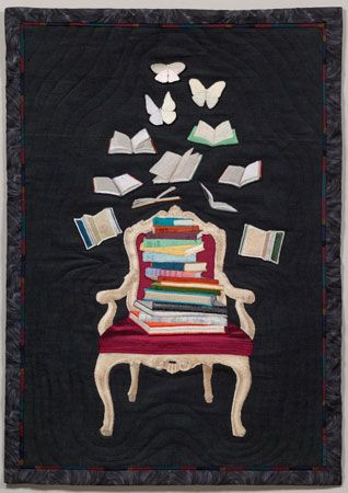"""Literary Reverie"" by art quilter BJ Adams -- 34.5"" by 24.5"" -- 2007 --   Free-motion machine embroidery on cotton fabric."