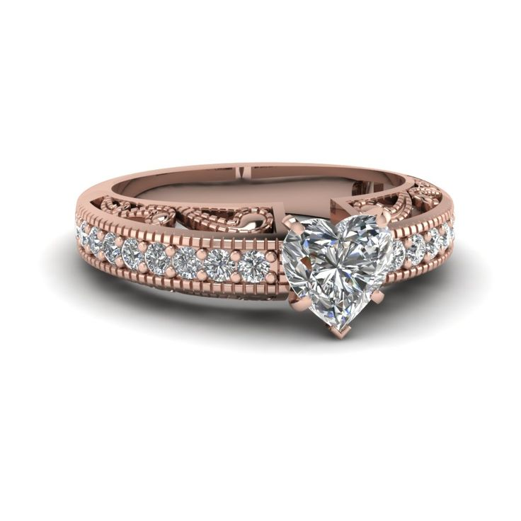 Paisley Intricate Engagement Ring & Bands Heart Shaped diamond Vintage Engagement Rings with White Diamond in 18K Rose Gold exclusively styled by Fascinating Diamonds
