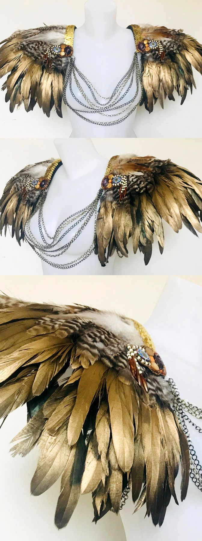 Black, natural and gold hand crafted feather wings/epaulettes with embellishment and gold trim. The epaulettes have been trimmed with gold sequin elastic. Mad Max meets Moulin Rouge! Gold feather festival epaulettes, festival feather wings, feather should