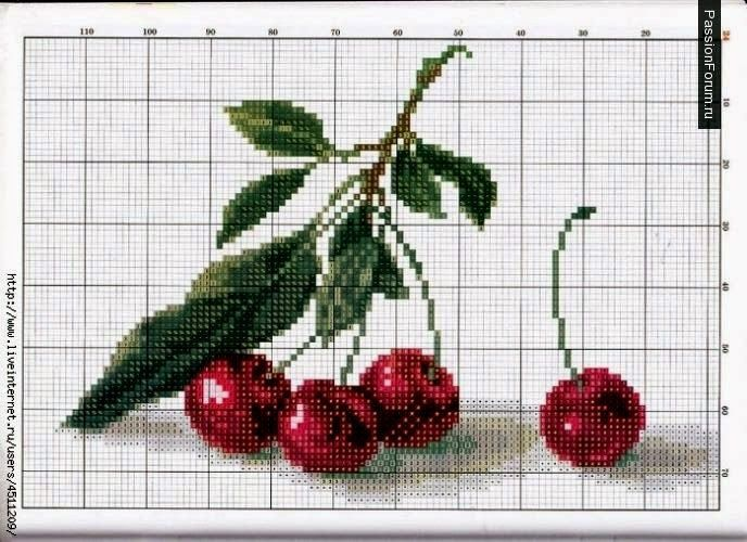 Preciosas cosas del corazón: Punto de Cruz: Un poco más jugosas cerezas (sistemas de recogida)