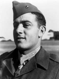 Sgt. John Basilone Congressional Medal of Honor recipient for extraordinary heroism and conspicuous gallantry in action against enemy Japanese forces, above and beyond the call of duty, while serving with the 1st Battalion, 7th Marines, 1st Marine Division in the Lunga Area. Guadalcanal, Solomon Islands, on 24 and 25 October 1942. Read more about his story via The Congressional Medal of Honor Society.