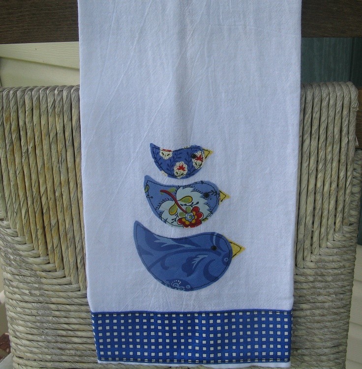 Little Bluebirds Appliqued Towel. $15.00, via Etsy.