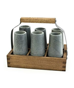 DAILY FINDS 7 Splendid Hostess Gifts  Reclaimed Wood Caddy With Vodka Shooters This set is sure to be the new favorite in your host's entertaining arsenal—it comes complete with six soapstone shot glasses inside a reclaimed ash wood caddy.  To buy: $48, bambeco.com.: Bambeco Com 48, Wine Racks, Reclaimed Wood, Shots Glasses, Eco Friends, Countertops Wine, Wood Caddy, Vodka Shooter, Hostess Gifts
