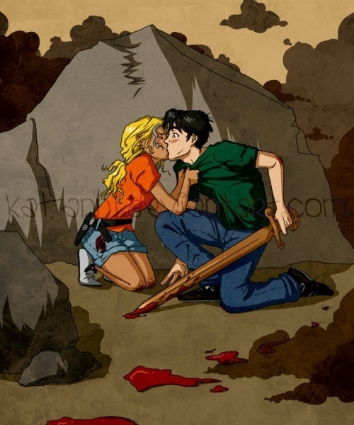 Percy and Annabeth's first kiss - The Battle of the Labyrinth ...