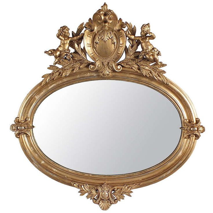 Antique Oval Mirror with Cupids on Top