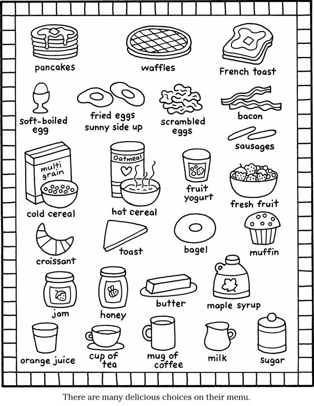 breakfast coloring pages color it breakfast items | Coloring Pages | Coloring pages, Kids  breakfast coloring pages