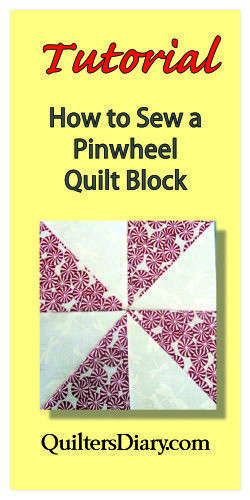 Pinwheel Block Tutorial...The block is made by sewing together four half-square triangle blocks in such a way that the block seems to be spinning like the pinwheels children get at school fairs.  The only tricky part is getting all the triangle points to match at the center of the block. The key to perfectly aligned points is learning how to sew a scant 1/4″ seam.