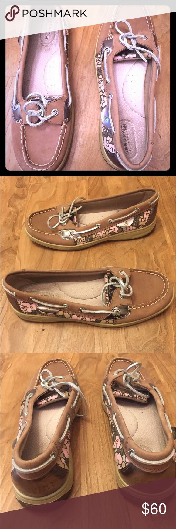 SPERRY Top-Sider Flats These are in great condition. Only wear is on the inside around the heel area and on the bottom of the shoe. Super cute design on the side. We are a pet free/smoke free house Sperry Top-Sider Shoes Flats & Loafers