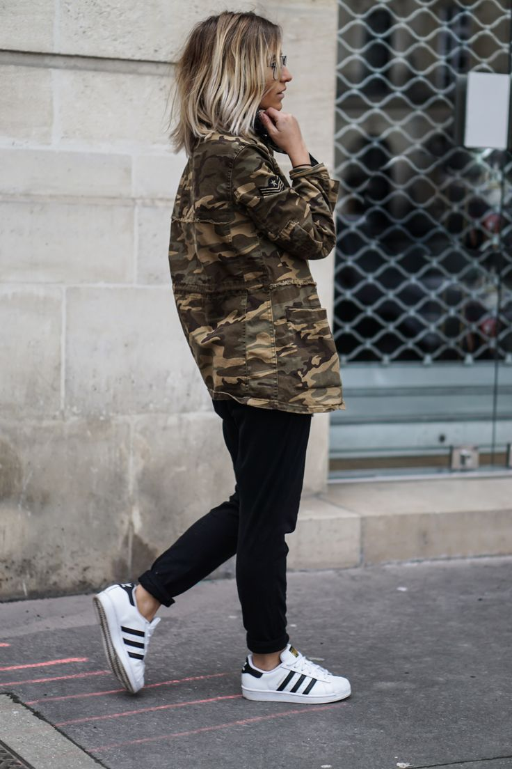 Nothing screams military more than a camouflage coat! Camille Callen rocks this Mango jacket, paired with androgynous style joggers and a pair of classic Adidas Superstars. Jacket: Mango, Joggers: Forever 21, Top: Zara, Sneakers: Adidas.