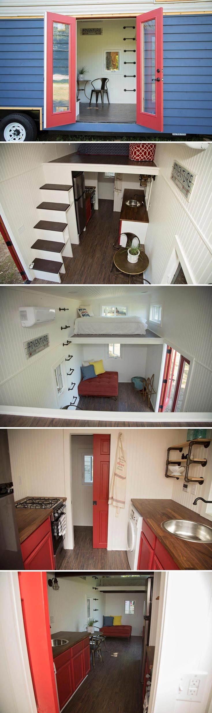 """This 8'6"""" x 24' tiny house on wheels has a patriotic theme with its blue exterior and red French doors."""