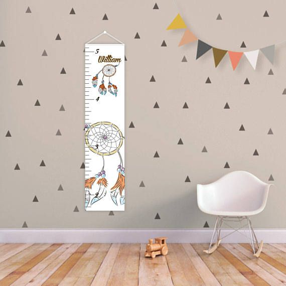 Kids Height Ruler Canvas growth chart Nursery growth ruler Custom Growth Chart Baby shower gift Wall decor Nursery Dreamcatcher nursery Charts measure 10 wide, by 42 long. Materials: *Canvas *wood dowels *grosgrain ribbon Please tell me your childs name in the Notes section during the