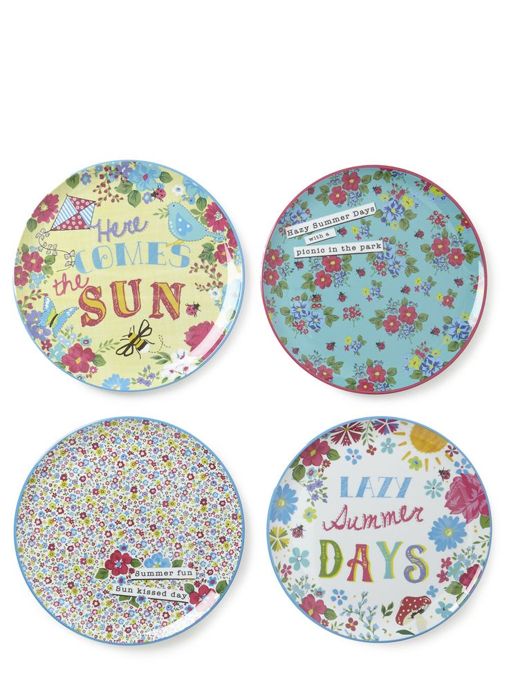 Set of 4 Vintage Text Round Dinner Plates - Crockery & Cutlery - Home, Lighting & Furniture - BHS