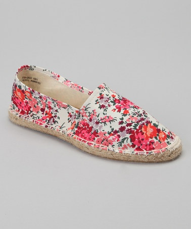 Take a look at this Coral  White Floral Espadrille Flat - Women by Capelli New York on #zulily today!