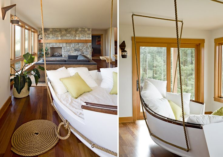 Hanging Boat SofaIdeas, Boats Beds, Lakes House, Beach House, Swings, Coastal Home, Interiors Design, Cleaning Design, Oregon Coast