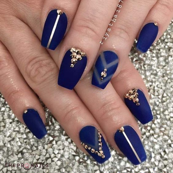"""""""I love the ocean. I've always liked the blue, so tranquil and peaceful and gliding. And the fear of it""""  Siouxsie Sioux #nails #blue #elegant #manicure"""