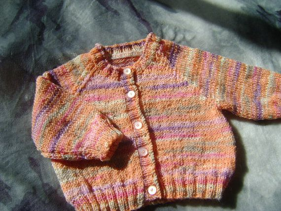 Baby girls cardigan, 3 - 6 months, wool. Beautiful blend of colours  pink, orange purple, beige, white. | Shop this product here: http://spreesy.com/LittleKiwiKnits/5 | Shop all of our products at http://spreesy.com/LittleKiwiKnits    | Pinterest selling powered by Spreesy.com