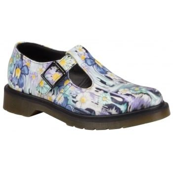 Inspired by the 'Gore Writing' of psychobilly flyers and artwork this splash of melting, colourful florals, drips down from the top-line to the sole, updating our women's Polley T-bar shoe. Our Reinvented range takes classic Dr. Martens styles and customises them, playing with their history to create something new every season. http://www.marshallshoes.co.uk/womens-c2/dr-martens-womens-polley-purple-paint-slick-backhand-t-bar-shoe-21087500-p3807