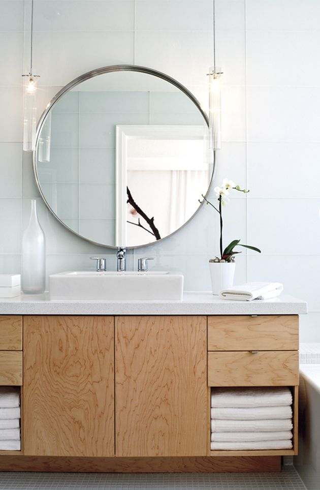 round mirror, large format wall tile