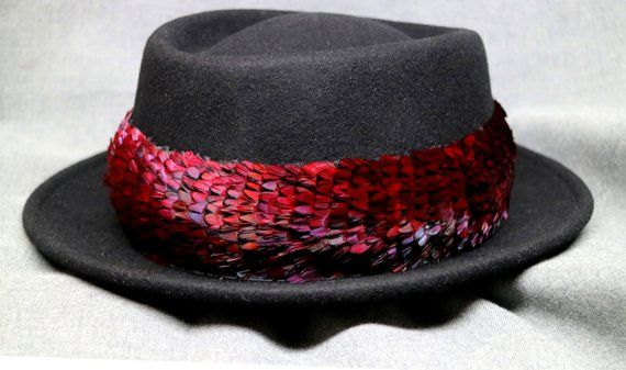 Hawaiian Feather Hat Band Humu Papa, Lei Hulu, Feather Lei Ring-Neck Pheasant Feathers Dyed Red