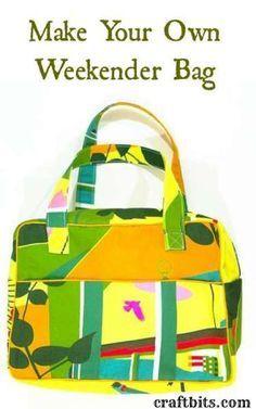 Make Your Own Weekender Bag - free PDF pattern http://craftbits.com/project/make-your-own-weekender-bag/