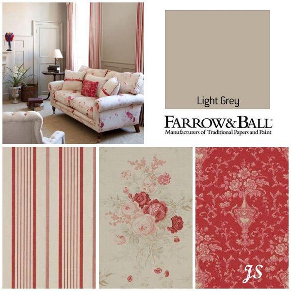 Kate Forman Inspiration by Joanne Sandford - Paint: Light Grey (Farrow & Ball) Curtain Fabric: Red Ticking, Sofa: Roses, Cushion: Pandora