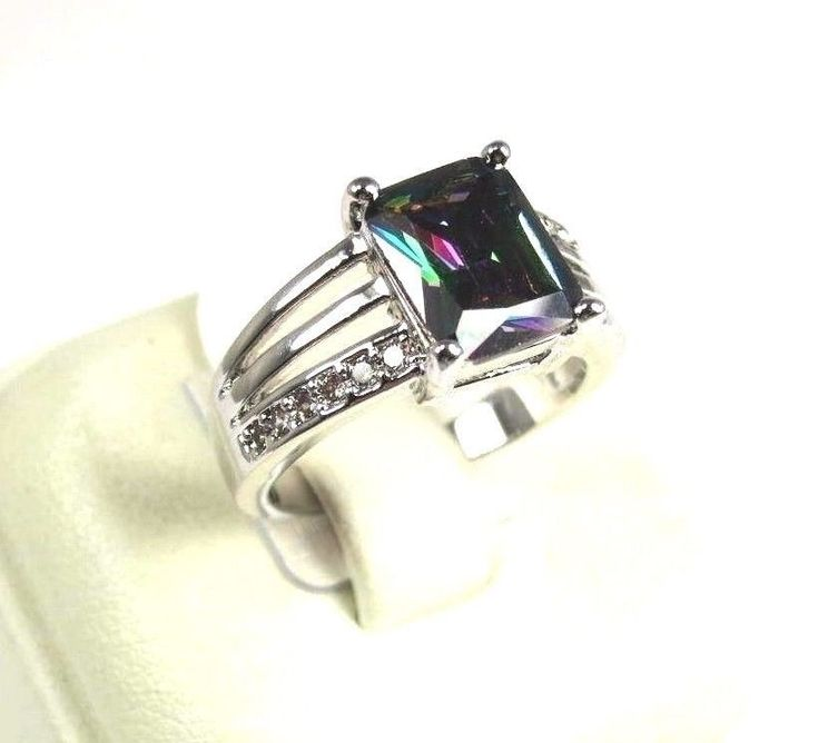 Mystic Fire & White Topaz Simulated Gemstones Men's Silver Ring Sz 10.75 R#12745