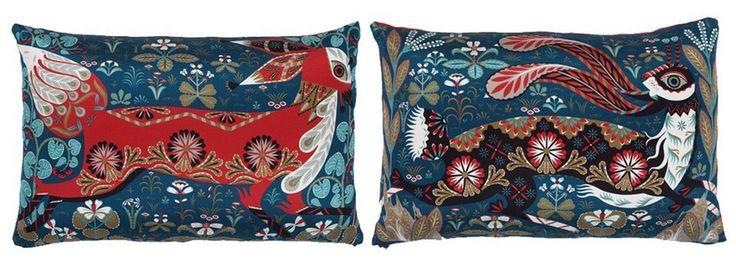 Klaus Haapniemi  Tiphaine-illustration #cushions #fox #rabbit
