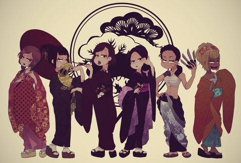 Osomatsu, Karamatsu, Choromatsu, Ichimatsu, Jyushimatsu & Todomatsu- Osoko, Karako, Choroko, Ichiko, Jyushiko & Todoko