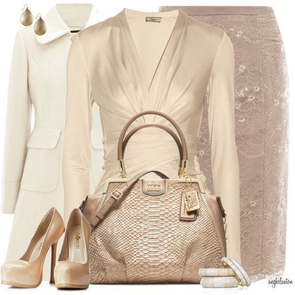 Issa Wrap-effect silk-jersey top (champagne)/ ivory coat/beige skirt, pumps, and bag