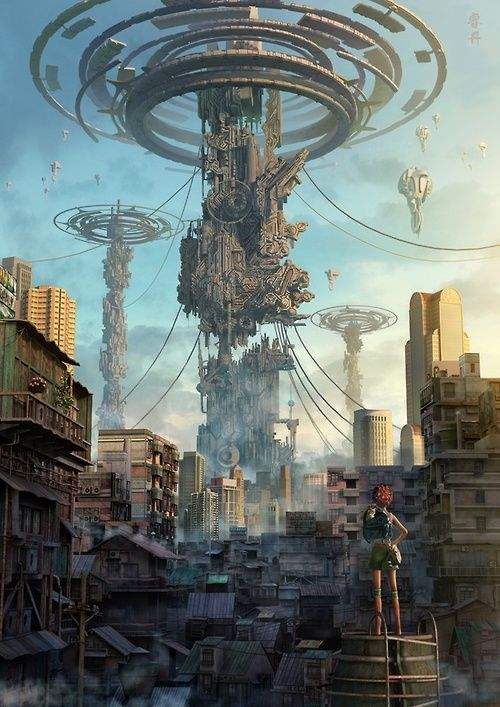 Detailed futuristic cityscape.