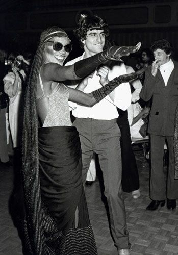 Credit: Ron Galella/WireImage February 1978: Grace Jones and guest at the Disco Convention Banquet
