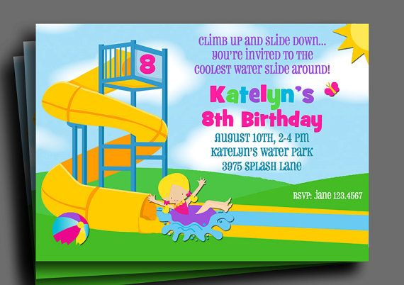 Girls Water Park Invitation Printable  You Pick by ThatPartyChick, $15.00