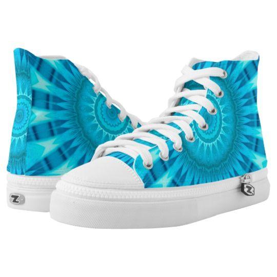 Turquoise Mandala Zipz High Top Shoes by www.zazzle.com/htgraphicdesigner* #zazzle #gift #giftidea #shoes #mandala #kaleidoscope #abstract #summer #blue #turquoise