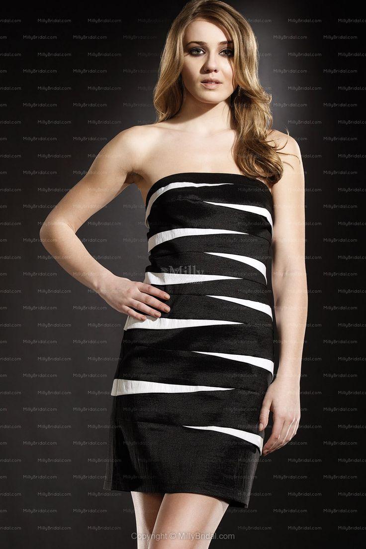 Sheath/Column Strapless Satin Short/Mini Multi Colours Cocktail Dress  #Cocktail Dress