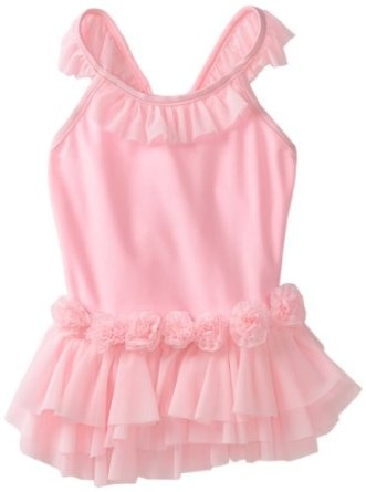 Amazon.com: Love U Lots Girls 2-6X 1 Piece Ballerina Swimsuit with Tulle Ruffles and Flowers, Light Pink, 2T: Clothing
