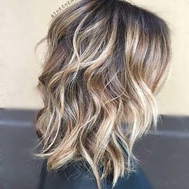 Layered Long Bob Haircut with Blonde Balayage Highlights ...