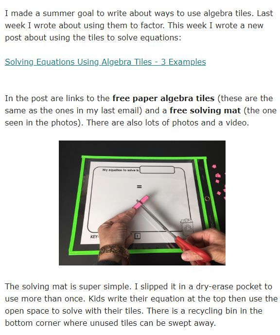 N The Post Are Links To The Free Paper Algebra Tiles These Are The Same As The Ones In My Last Solving Equations Activity Solving Equations Teaching 6th Grade Algebra tiles worksheets 6th grade