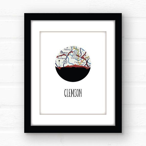Clemson art print  Clemson South Carolina map by PaperFinchDesign