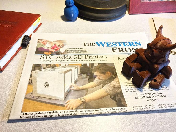 Very cool! Article in @thefrontonline on the new #3dprinting available at STC! www.wwu.edu/stc  #edtech #educator #teacher #teaching #university #mywestern #wwu #maker #3d #news #newspaper #frontpage by ajbarse