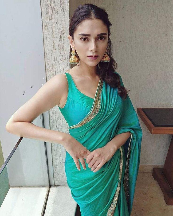 Aditi Rao Hydari in @moheybymanyavar@manyavar#pune#sari#aqua@amrapalijewels