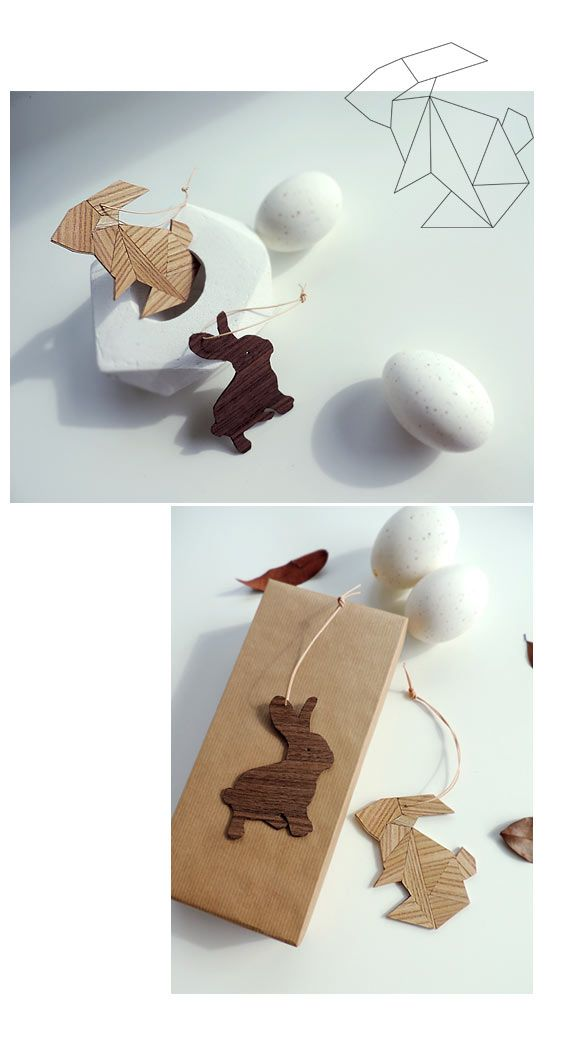 Hasen aus Furnierresten / Rabbits made of scraps of inlay / Upcycling