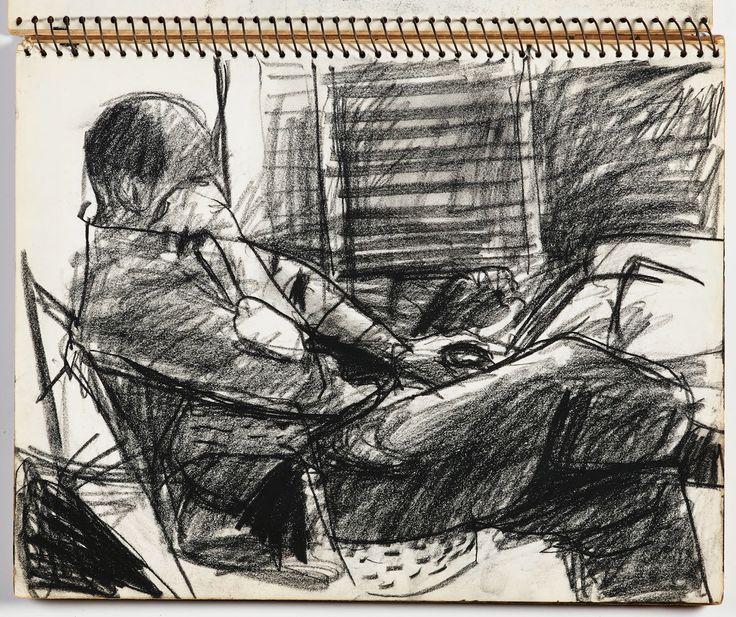 "Richard Diebenkorn, ""Untitled"" from Sketchbook #20, page 45 (1943–1993), crayon on paper (gift of Phyllis Diebenkorn, © The Richard Diebenkorn Foundation)"