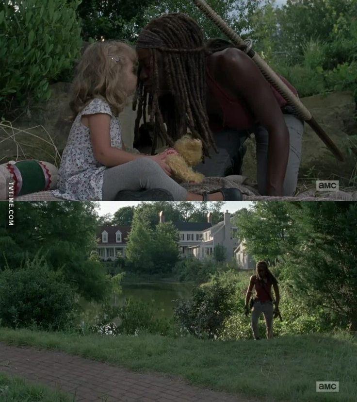 "Michonne (Danai Gurira) and Judith   Season 8:Episode 8 - ""How It's Gotta Be"""