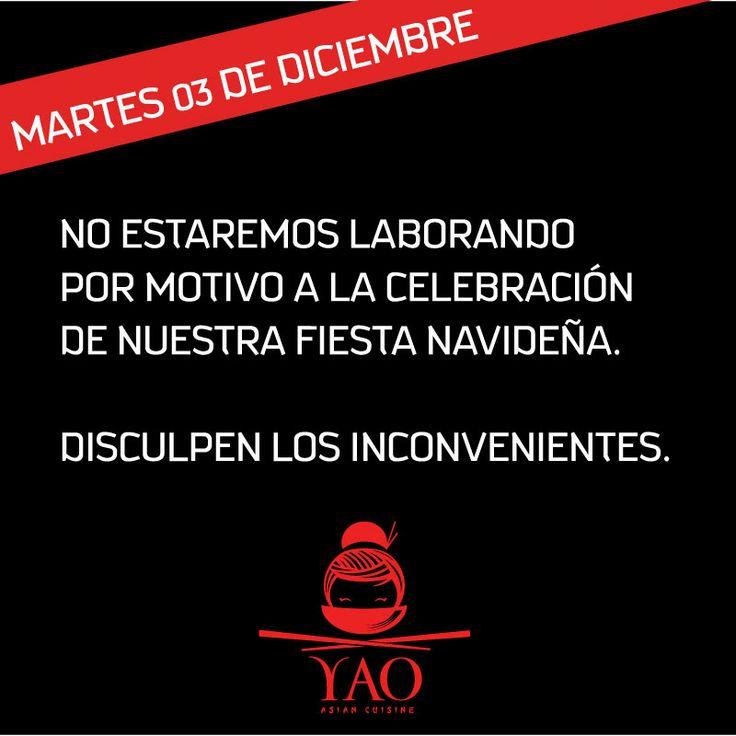 Por motivo de nuestra fiesta navideña, este Martes 03 de Diciembre no estaremos laborando, reanudaremos nuestras labores el Miércoles 04 en horario regular. ¡Favor disculpar los inconvenientes!